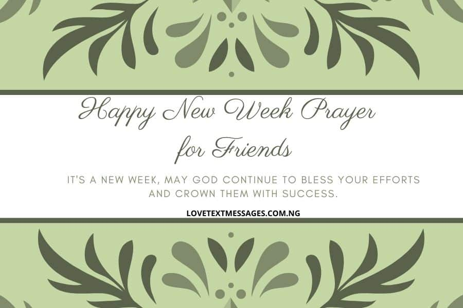 Happy New Week Prayer SMS for Friends