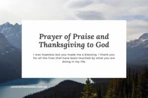 Prayer of Praise and Thanksgiving to God