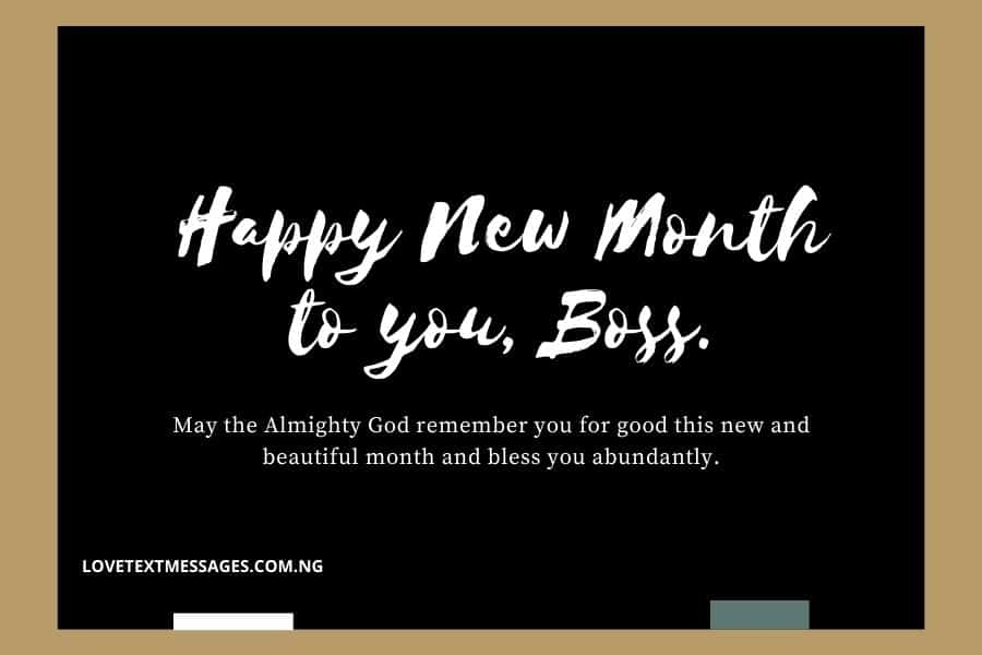 Happy New Month Prayers for Boss