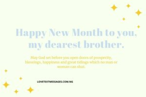 Happy New Month Prayers for Brother