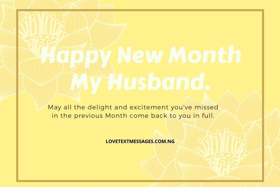 Happy New Month Text Messages for Husband