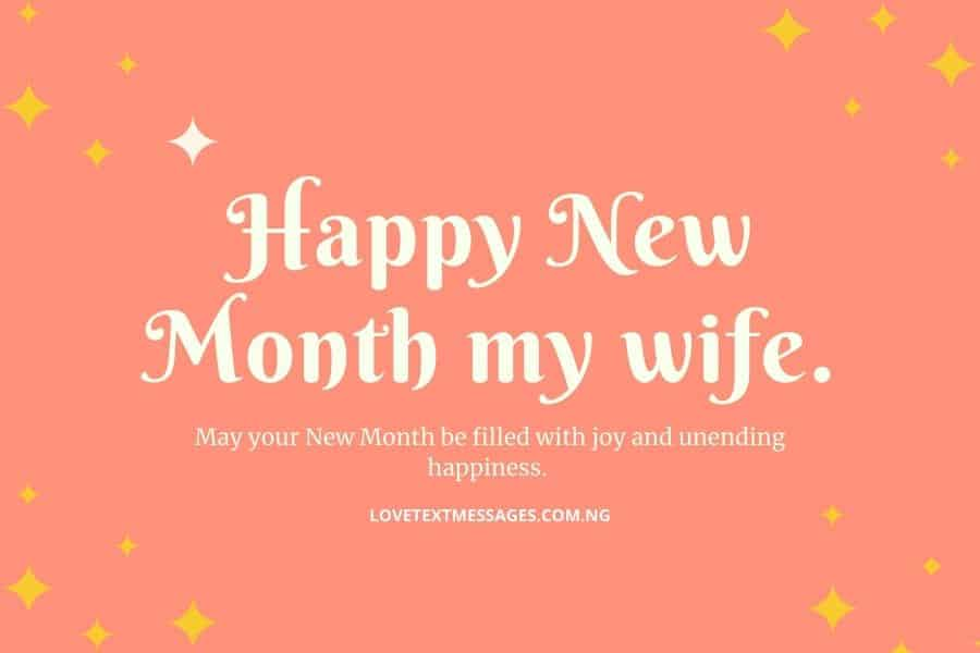 Happy New Month Text Messages for Wife
